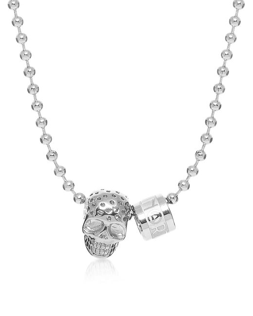 Northskull | Metallic Silver Perforated Skull Pendant W/ Logo Wheel & Ball Necklace for Men | Lyst