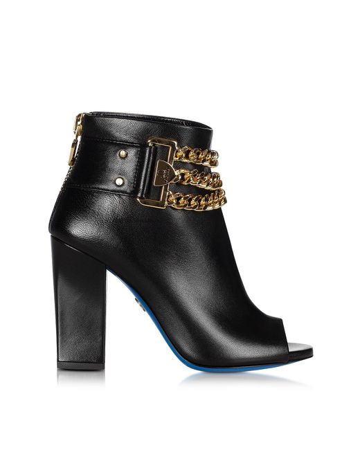 Loriblu | Black Leather Open Toe Ankle Boots | Lyst
