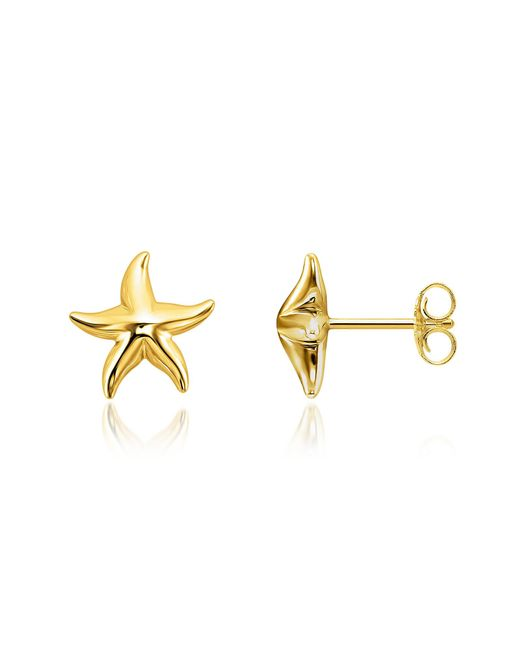 Thomas Sabo - Metallic Gold Plated Sterling Silver Starfish Earrings W/white Zirconia - Lyst