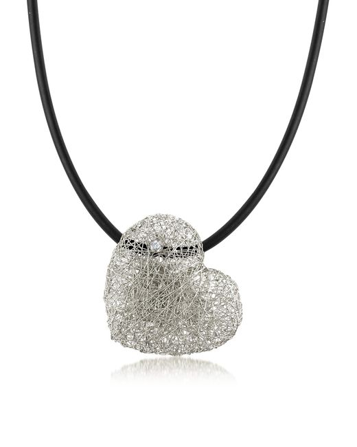 Orlando Orlandini | Metallic Woven White Gold Heart Pendant Necklace W/diamond | Lyst