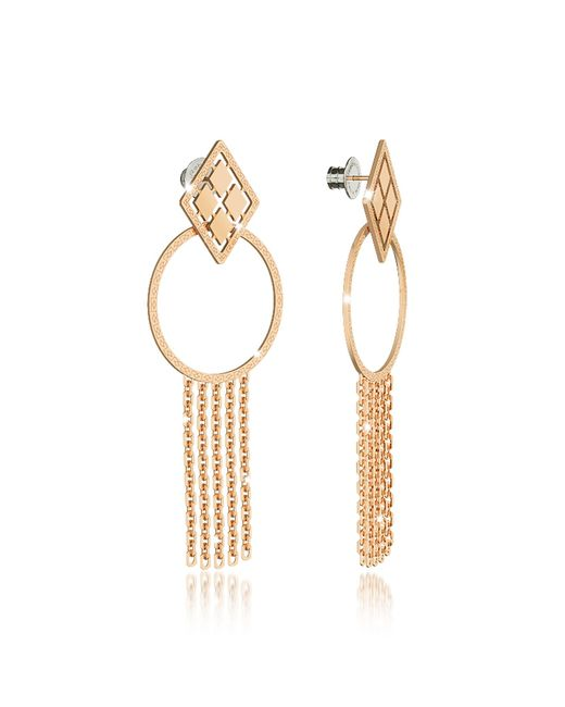 Rebecca - Melrose Yellow Gold Over Bronze Drop Hoop Earrings W/chain Fringes - Lyst