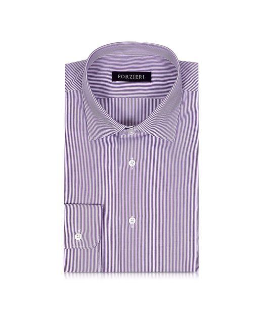 Forzieri   Purple & White Striped Cotton Slim Fit Men's Shirt for Men   Lyst