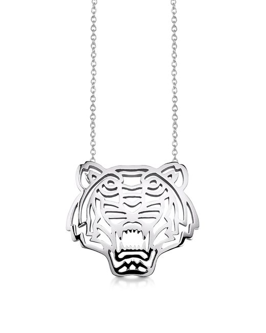 KENZO | Metallic Sterling Silver Cut Out Tiger Necklace | Lyst