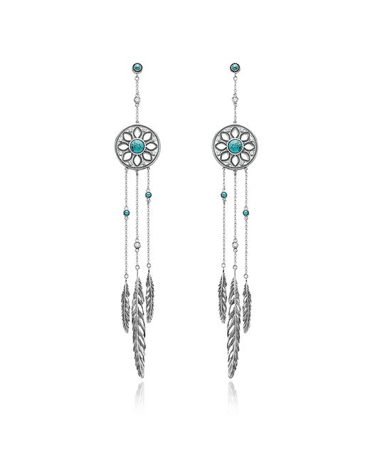 Thomas Sabo - Metallic Blackened Sterling Silver Feather Pendant Earrings W/synthetic Turquoise And White Cubic Zirconia - Lyst
