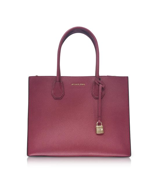 Michael Kors | Purple Mercer Large Mulberry Pebble Leather Convertible Tote Bag | Lyst