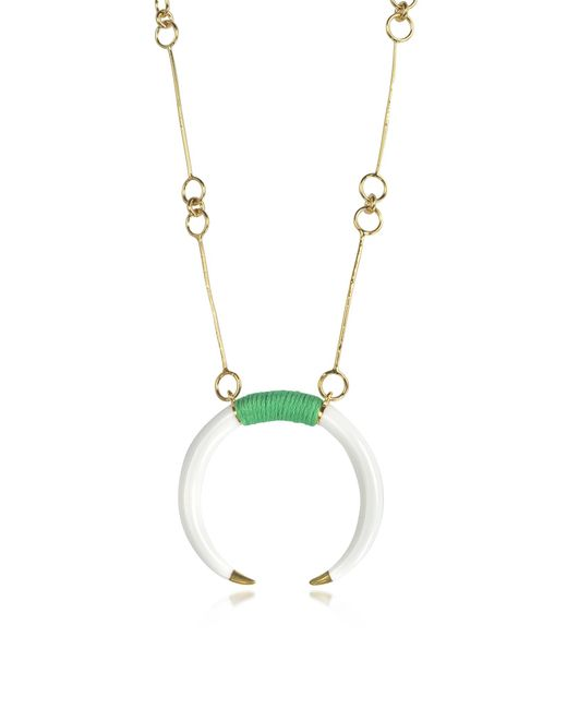 Aurelie Bidermann | Metallic 18k Gold-plated Brass And White Resin Horn Pendant Necklace | Lyst
