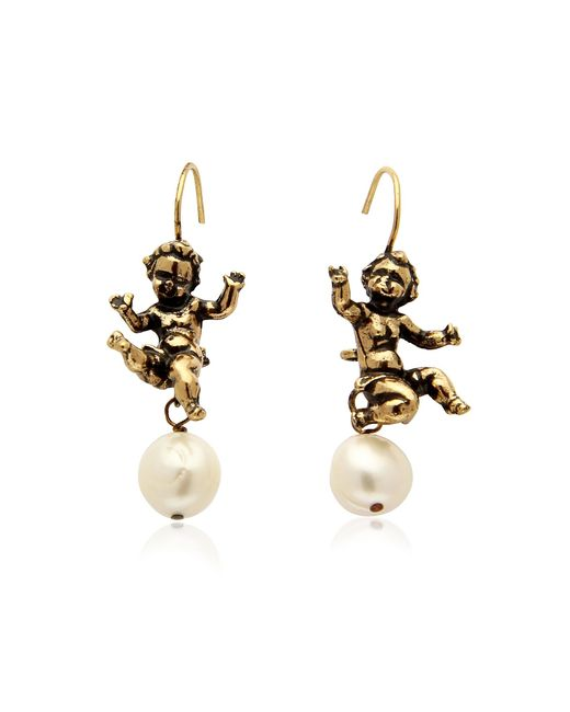 Alcozer & J | Metallic Naughty Children Gold Plated Brass And Glass Pearl Earrings | Lyst
