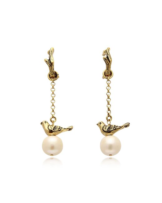 Alcozer & J | Metallic Treasure Goldtone Brass And Glass Pearls Earrings | Lyst