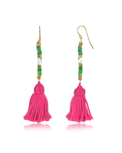 Aurelie Bidermann - 18k Gold-plated & Green Jaspe And White Bamboo Beads Sioux Earrings W/pink Cotton Tassels - Lyst