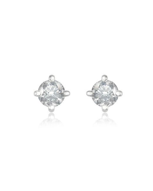 Forzieri - White 0.37 Ct Four-prong Diamond Stud Earrings - Lyst