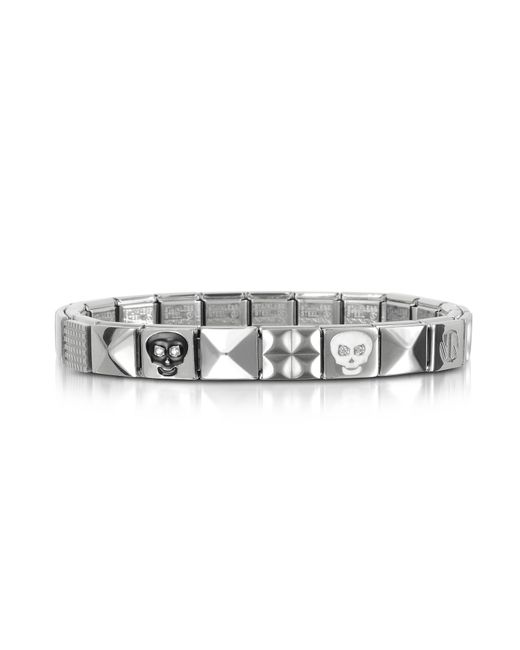 Nomination | Metallic Steel Ikons Black & White Skull Stainless Steel Bracelet W/cubic Zirconia for Men | Lyst