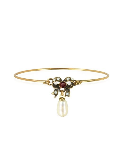 Alcozer & J - Metallic Happiness Goldtone Brass Bow And Glass Pearl Bangle - Lyst