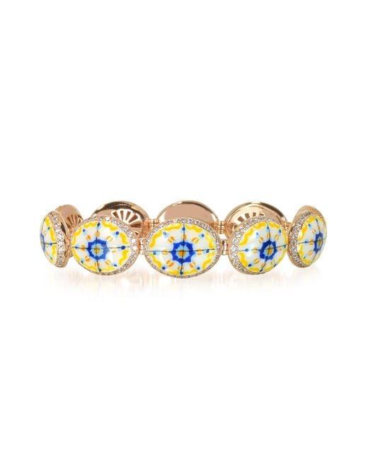 Azhar   Metallic Capri Silver Zircon And Enamel Bracelet   Lyst