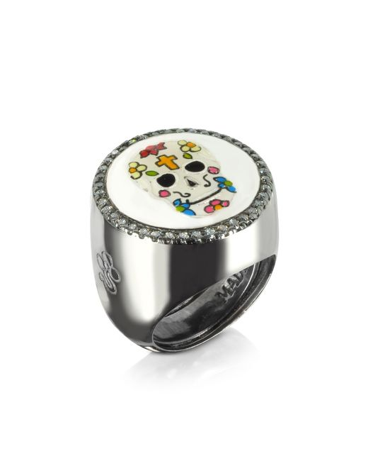 Azhar - Black Calavera Skull Rhodium Plated Sterling Silver Adjustable Ring W/white Cubic Zirconia - Lyst
