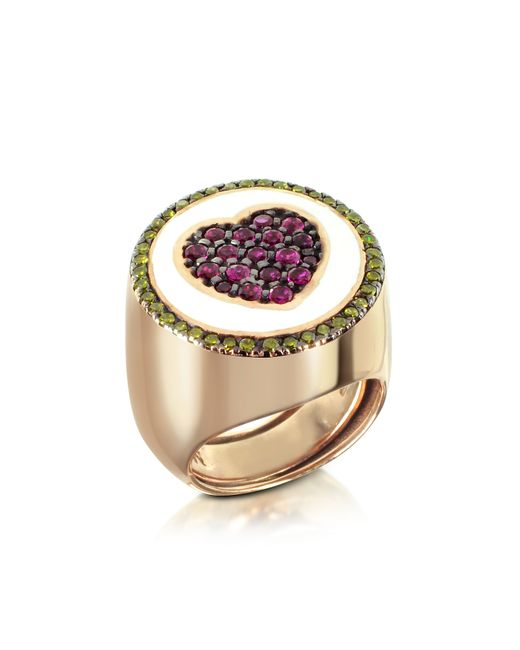 Azhar - Pink Rose Gold Plated Sterling Silver Adjustable Ring W/red Cubic Zirconia - Lyst
