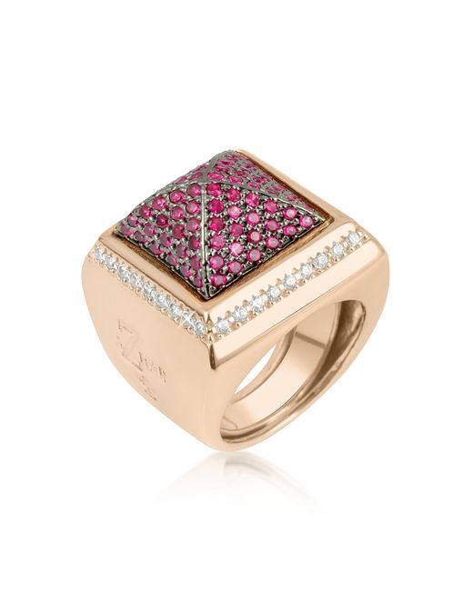 Azhar | Pink Cubic Zirconia Square Ring | Lyst