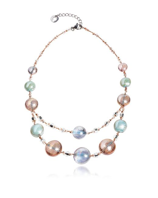 Antica Murrina | Redentore 3 - Pink & Green Murano Glass And Silver Leaf Choker | Lyst