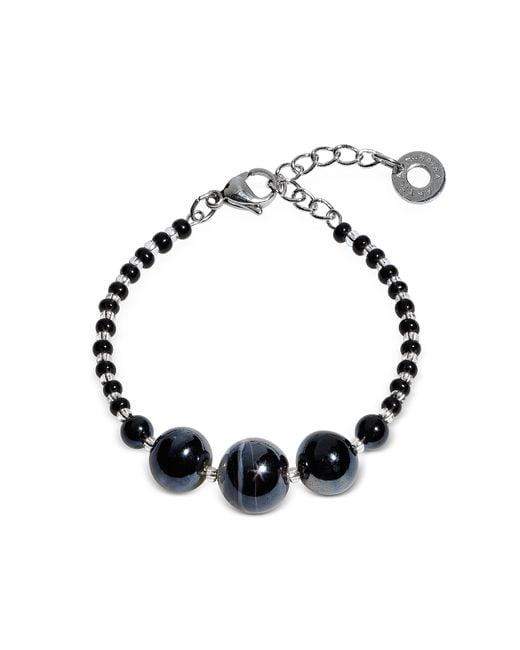 Antica Murrina   Optical 2 Rigido - Silver Stainless Steel Bracelet W/black Murano Glass Beads   Lyst