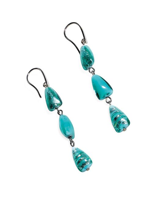 Antica Murrina | Blue Marina 1 - Turquoise Green Murano Glass And Silver Leaf Dangling Earrings | Lyst