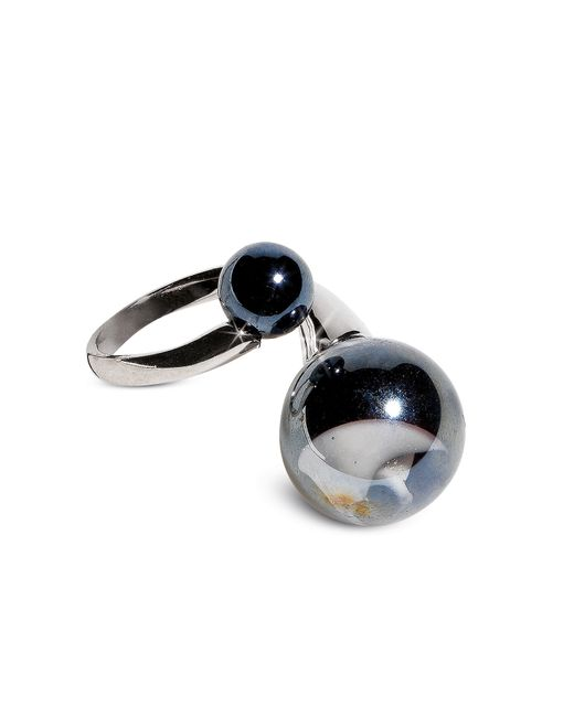 Antica Murrina | Optical - Silver Stainless Steel Ring W/black Murano Glass Beads | Lyst