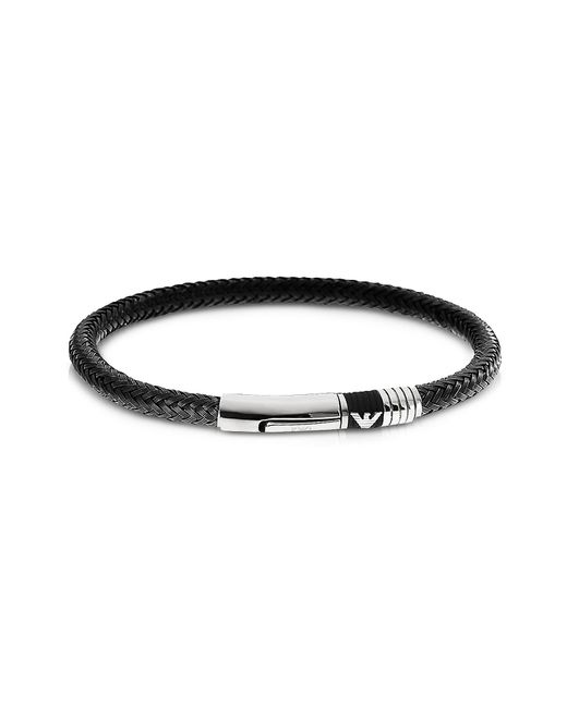 Emporio Armani | Black Iconic Woven Stainless Steel Men's Bracelet for Men | Lyst