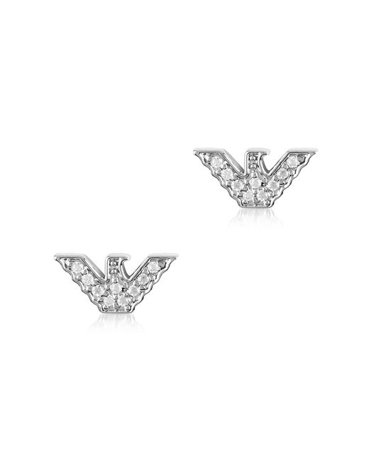 Emporio Armani | Metallic Sterling Silver Signature Eagle Earrings | Lyst