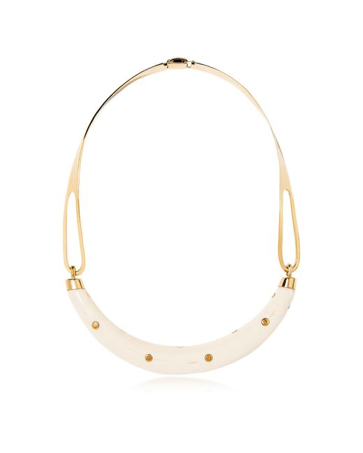 Aurelie Bidermann | Metallic Studded Caftan Gold Plated And Resin Horn Moon Necklace | Lyst