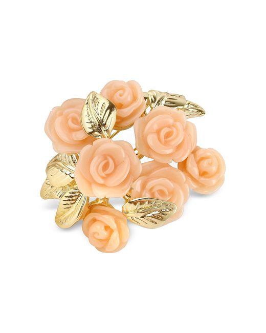 AZ Collection | Pink Roses Gold Plated Brooch | Lyst