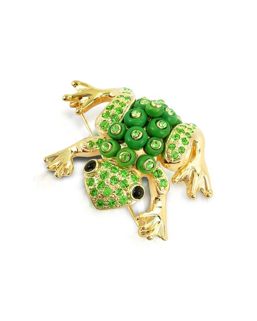 AZ Collection   Green Frog Brooch   Lyst