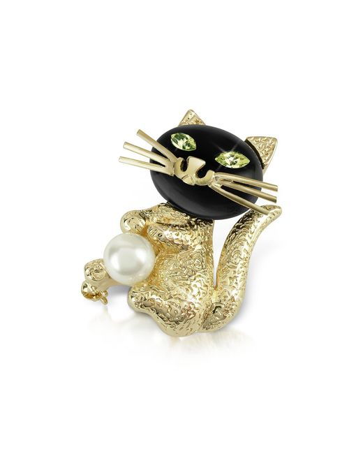 AZ Collection | Metallic Green-eyed Cat Pin | Lyst