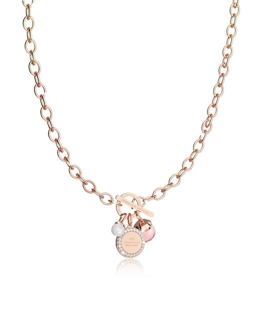Rebecca | Hollywood Stone Rose Gold Over Bronze Chain Necklace W/hydrothermal Pink Stone And Glass Pearl | Lyst