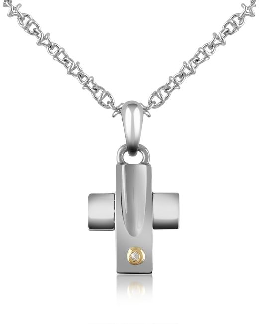 Forzieri | Metallic Diamond And Stainless Steel Cross Pendant Necklace | Lyst
