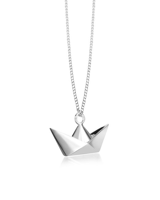 Origami Jewellery - Metallic Sterling Silver Boat Pendant Necklace - Lyst