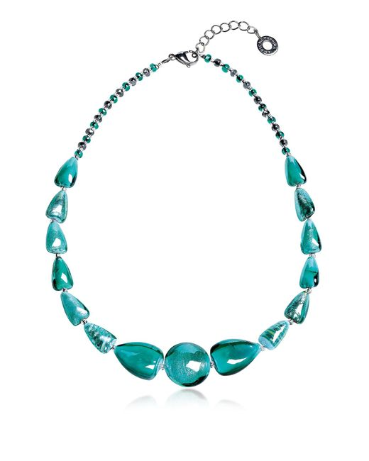 Antica Murrina - Marina 2 Basic - Turquoise Green Murano Glass And Silver Leaf Choker - Lyst