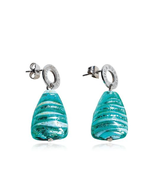 Antica Murrina - Blue Marina 2 - Turquoise Green Murano Glass And Silver Leaf Drop Earrings - Lyst
