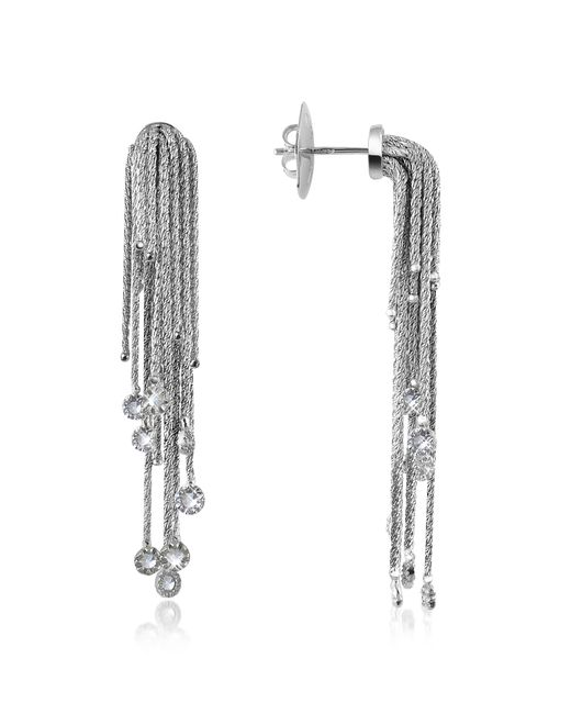 Orlando Orlandini - Flirt - Diamond Drops 18k White Gold Earrings - Lyst