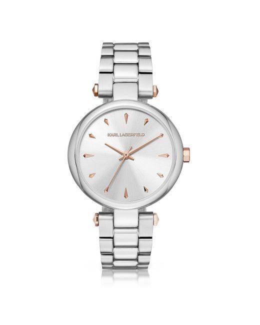 Karl Lagerfeld - Metallic Aurelie Stainless Steel Women's Quartz Watch W/signature Dial - Lyst