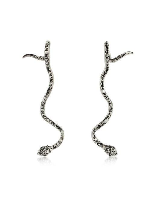 FEDERICA TOSI - Black Long Snake Earrings - Lyst