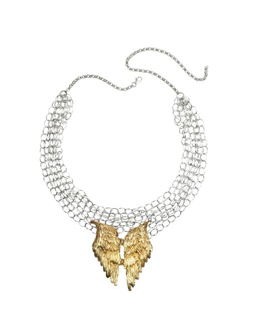Bernard Delettrez | Metallic Silver Chains With Bronze Wings Necklace | Lyst