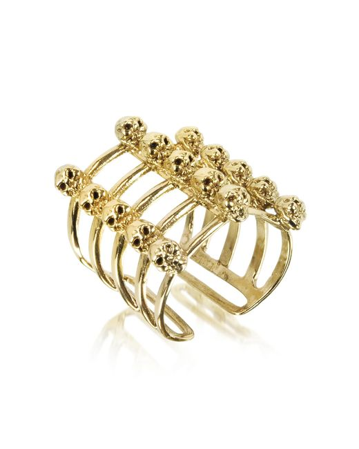 Bernard Delettrez | Metallic Cage And Skulls Bronze Ring | Lyst