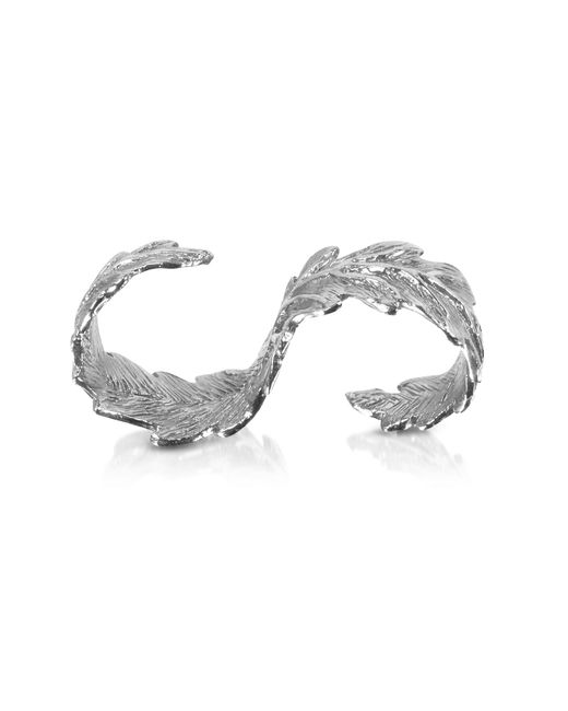Bernard Delettrez | Metallic Two Fingers Silver Leafy Ring | Lyst