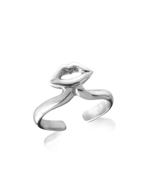 Bernard Delettrez | Metallic Silver Midi Ring W/mouth | Lyst