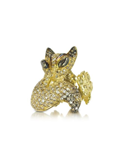 Bernard Delettrez | Metallic Gold And Cognac Diamonds Fox Ring | Lyst