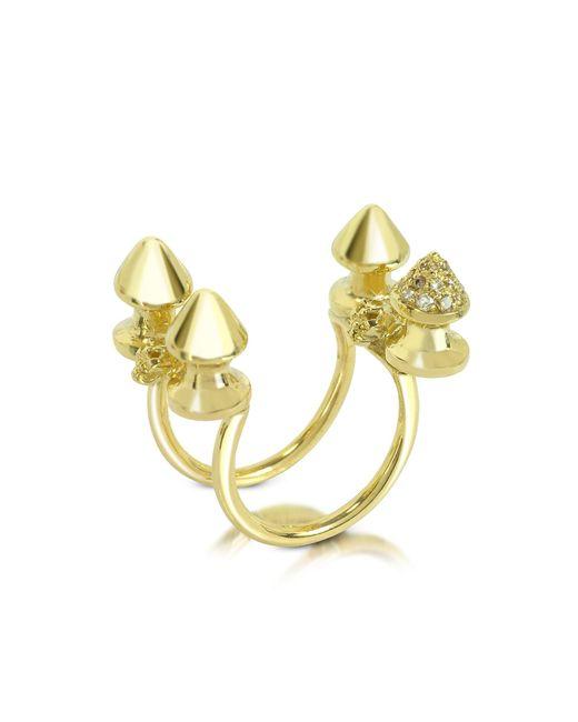 Bernard Delettrez - Metallic Four Studs Gold And Cognac Diamonds Ring - Lyst