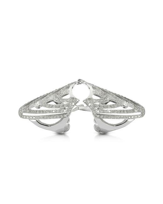 Bernard Delettrez | White Gold And Diamonds Shield Articulated Ring | Lyst