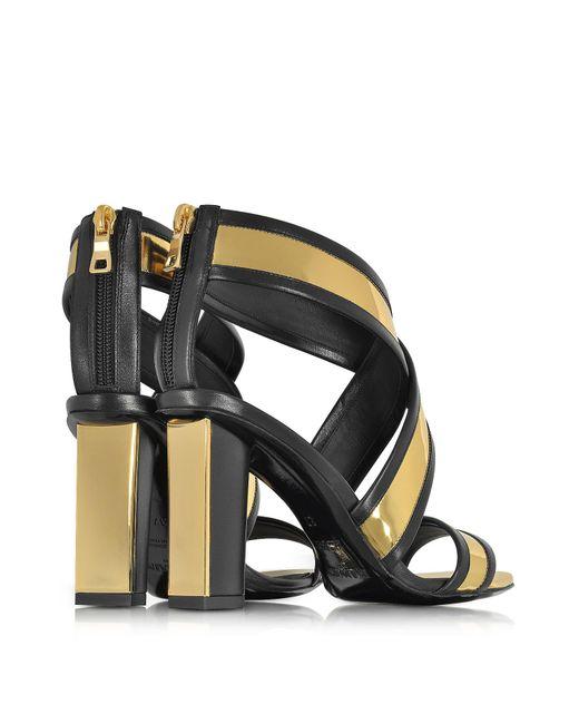 Balmain Shoes, Aska and Metallic Leather Heel Sandal