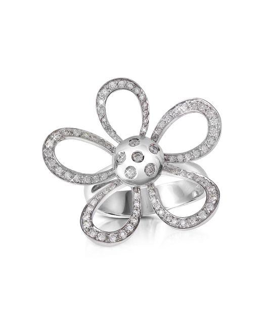Forzieri - Metallic 0.57ct Diamond Flower 18k Gold Ring - Lyst