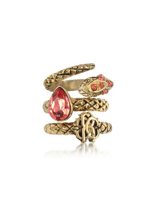 Roberto Cavalli - Metallic Goldtone Metal Triple Ring W/red Crystals - Lyst