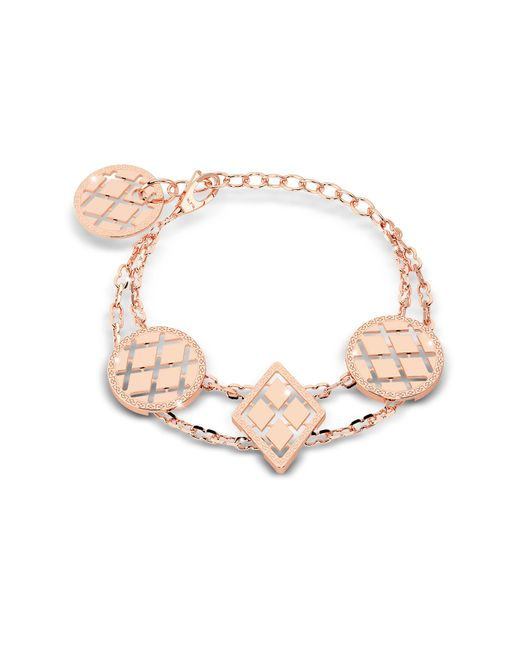 Rebecca - Pink Melrose Rose Gold Over Bronze Bracelet W/geometric Charms - Lyst