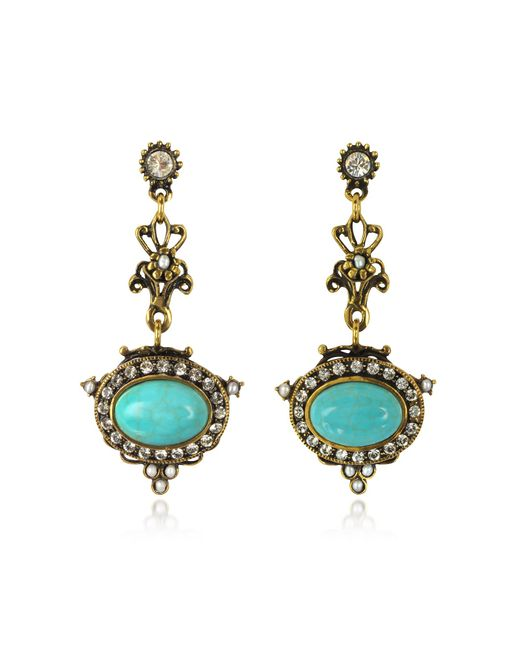 Alcozer & J - Metallic Magnesite Goldtone Brass Earrings W/crystals - Lyst